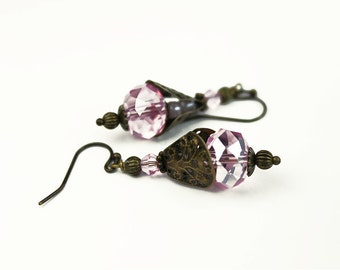 Pink Crystal and Brass Vintage Style Earrings