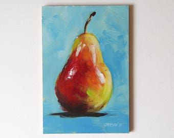 Still life with pear, original fruit painting, red pear