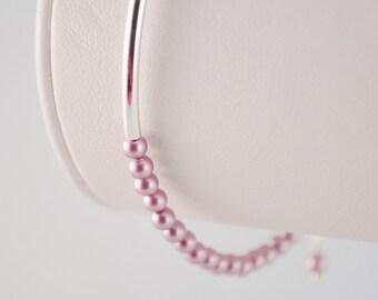 Pearl Bangle, Silver Plated Bracelet, Genuine Swarovski Powder Rose, Stacking Lavender Jewelry