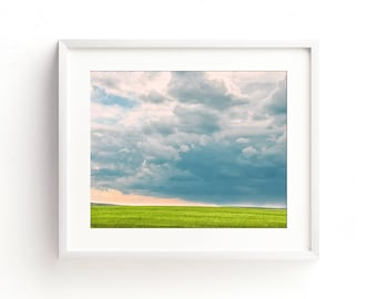 """landscape, field, clouds, large art, large wall art, gray, canvas art, canvas wall art, large canvas art, nature, art, blue - """"Electric Air"""""""