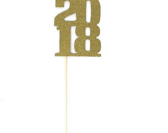 20 pack of Gold or Colors 2017 or 2018 Centerpiece Party Picks Class of '17 '18 Graduation Party Open House Summer Party Glitter Gold