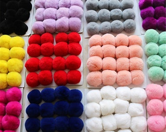 on sale!!! 5pcs. 6/7/8cm Quality Genuine Rabbit Fur Ball, Rabbit Hair Ball, Furry Pompom,Wedding Accessories,Phone Tag/ Keychain Charm