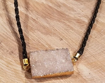 White Snow Druzy Agate Pendant Gold Edge Plated Leather Necklace Nature Gem Stone Boho Hippie Earth Crystal (N400)