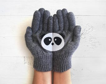 Panda Gloves, Animal Gloves, Animal Gift, Panda Lover Gift, Wildlife Kingdom, Girlfriend Gift, Gift For Him, Gift For Her, Wildlife Gift