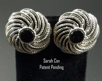Vintage Sarah Coventry Silver Earrings with Black Cabochon - 1980s Vintage Earrings - Signed Sarah Cov Patent Pending