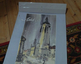 old illustrated calendar. Ukrainian calendar illustrated prints of watercolors, year 1993