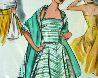 "UNCUT *  Vintage 1950's Halter  Dress and Stole Pattern - FF - Size 14, bust 32 - McCalls Pattern 3575 * ""easy to sew"""