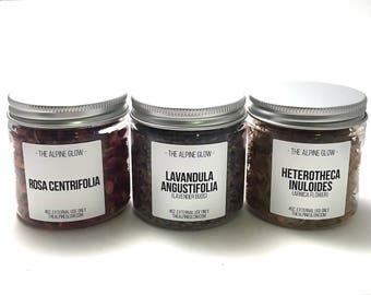 BOTANICAL TRIO SET - Apothecary Herbs - Dried Flowers - Dried Herbs - Botanicals - Bath Tea - Facial Steam - Bridesmaid Gift - Natural