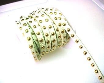 Synthetic suede with rivets ivory Ribbon