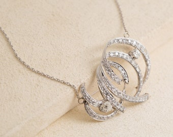 Vintage 14k Gold and Old Mine Cut Diamond Swirl Necklace