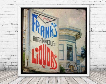 vintage liquor sign - haight ashbury california wall art - san francisco print