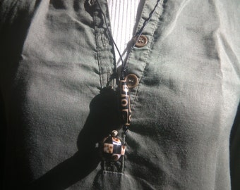 Leadher cord and DZI bead necklace