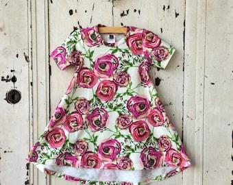 Mädchen T-Shirt Kleid Kleid - Mädchens Floral Knit Dress - Girls niedrige Hallo Kleid