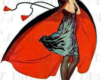 The CAPED Swimmer!! Art Deco Vintage Flapper Digital Illustration. Deco Flapper Digital Printable Image Download. Deco Digital Print