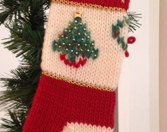 Personalized Christmas Stocking - Hand Knit - Hand Embroidered Embellishments - Vintage Timeless Family Stocking Made in Michigan