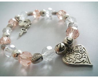 Pink glass beads, heart charm bracelet, pink jewelry, art nouveau, fantasy, must have, heart pendant, perfect gift for her