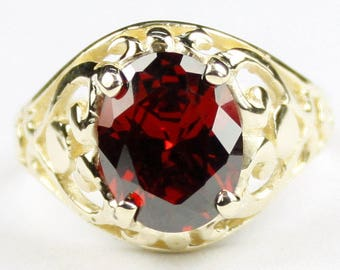 Garnet CZ, 14KY Gold Ring, R004