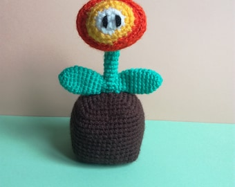 Fire Mario flower crocheted, 12cm