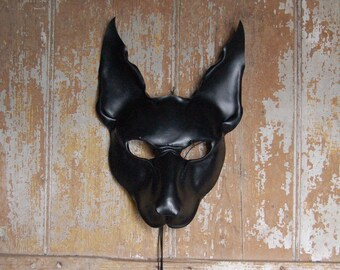 Black leather mask of Anubis, Egyptian Jackal god