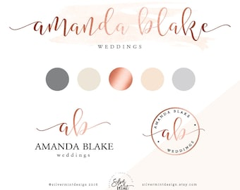 Branding Kit, Premade branding package, Logo design, Feminine logo, Watercolor logo design, rose gold branding, Business logo design, modern