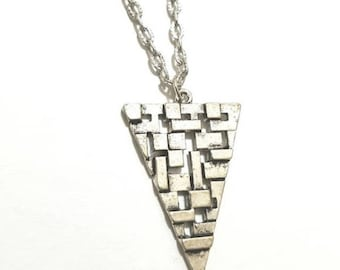 Antique Silver Triangle Pendant Chain Necklace Everyday Necklace