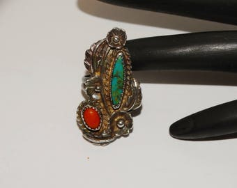 Vge Navajo Sterling Silver Turquoise/Coral Flower Ring.