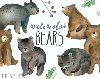 Watercolor Bears Clipart   Woodland Clipart - Mommy and Baby Bears - Brown and Black  -  - Instant Download PNG files