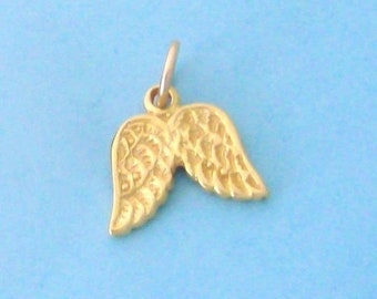 1 Vermeil Gold Angel Wings Charm, Double Sided