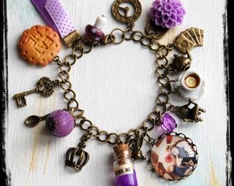 Alice in Wonderland Jewellery bracelet Vintage PURPLE handmade Gift Fimo cake Eat Me