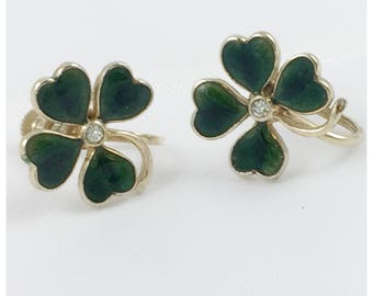 4 Leaf Clover Screw Back Earrings, Green Enamel 4-Leaf Clover earrings
