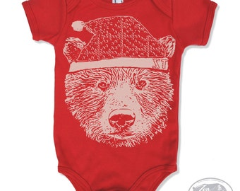 BEANIE BEAR Baby One-Piece Eco screen printed (+ Color Options) - FREE Shipping