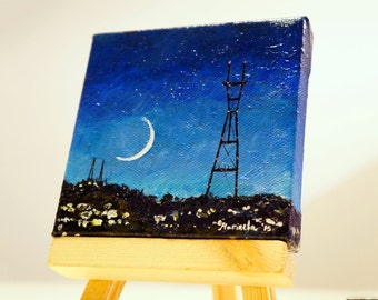 """Sutro Tower at night in San Francisco California Painting by marinelaArt - Acrylic Fine Art Painting on 4"""" x 4"""" Large Canvas Paintings"""