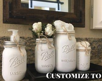 White Mason Jar Bathroom Set, Rustic Mason Jar Bathroom Set White, Rustic Mason Jar Bath Set, Bathroom Mason Jar Organizer, Bathroom Decor