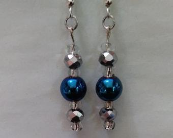 Metallic Blue & Silver Bead Earrings