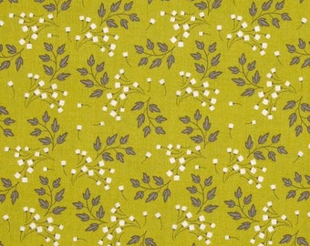 By The HALF YARD - Wildflowers by Alisse Courter for Camelot, #2240206-2 Sprigs Chartreuse, Gray and White Flowers and Leaves on Light Green