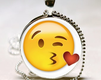 EMOJI Blowing Heart Kiss Kisses Emoticon TEEN LOVE Valentine's day Gift Altered Art Glass Pendant Charm Necklace