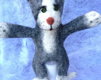 Grey Cat puppet. Kitten puppet. Cheerful and fluffy. Hand puppet. Bibabo. Toy glove. Toy on hand. Marionette. Puppet theatre.