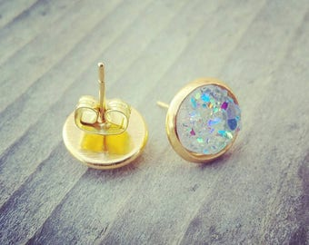 Ready to ship! 6 mm clear/multicolor and gold round faux druzy earrings sparkly druzy crystal studs