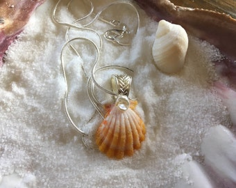 Hawaiian Sunrise Shell  Necklace with Keshi Pearl- Sterling silver S1008
