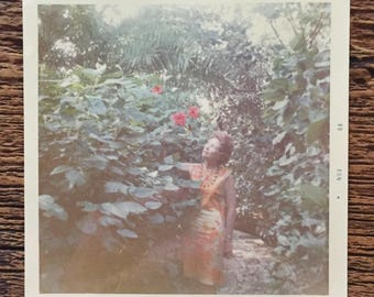 Original Vintage Color Photograph Stop & Smell the Roses