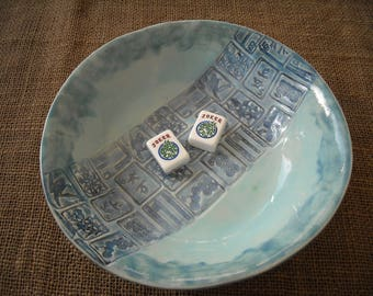 Mahjong Dish - Oriental Plate - Mahjongg Snack Dish - Oriental Dish - Mahjong Plate - Blue Mahjong Dish - Mahjong Gift - Gift Idea
