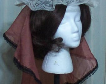 Burlesque fascinator hat with brown sheer drape Victorian Steampunk Lolita  bonnet trimmed with beige lace Geechlark a80