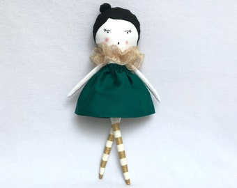 Green and gold rag doll / cloth doll / children's room Decoration / gift girl