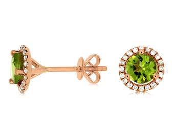 14k Rose Gold Peridot and Diamond Stud Earrings 210-327