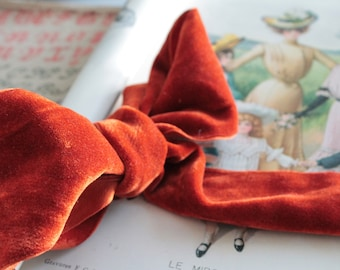 Old large orange Ribbon of velvet, width 7 cm, 1291