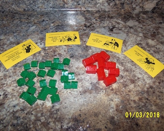 Monopoly Game Pieces, 1996 Monopoly Game Pieces, Monopoly Hotels, Monopoly Houses, Replacement Monopoly, Monopoly Community Chest