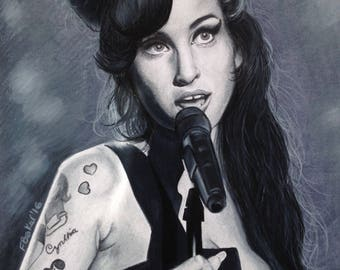 Amy Winehouse black and white A4 print