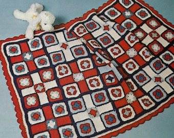 baby afghan crochet pattern, vintage crochet pattern, pdf instant download, granny squares baby afghan, crochet blanket pattern