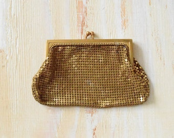 Whiting and Davis Art Deco Mesh Clutch | 1920's Gold Clutch