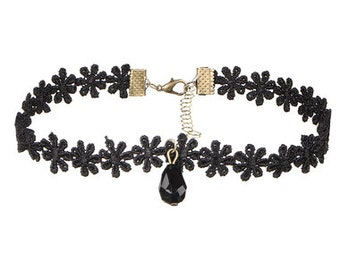 lack Cotton Floral Choker Necklace with Black Crystal Charm